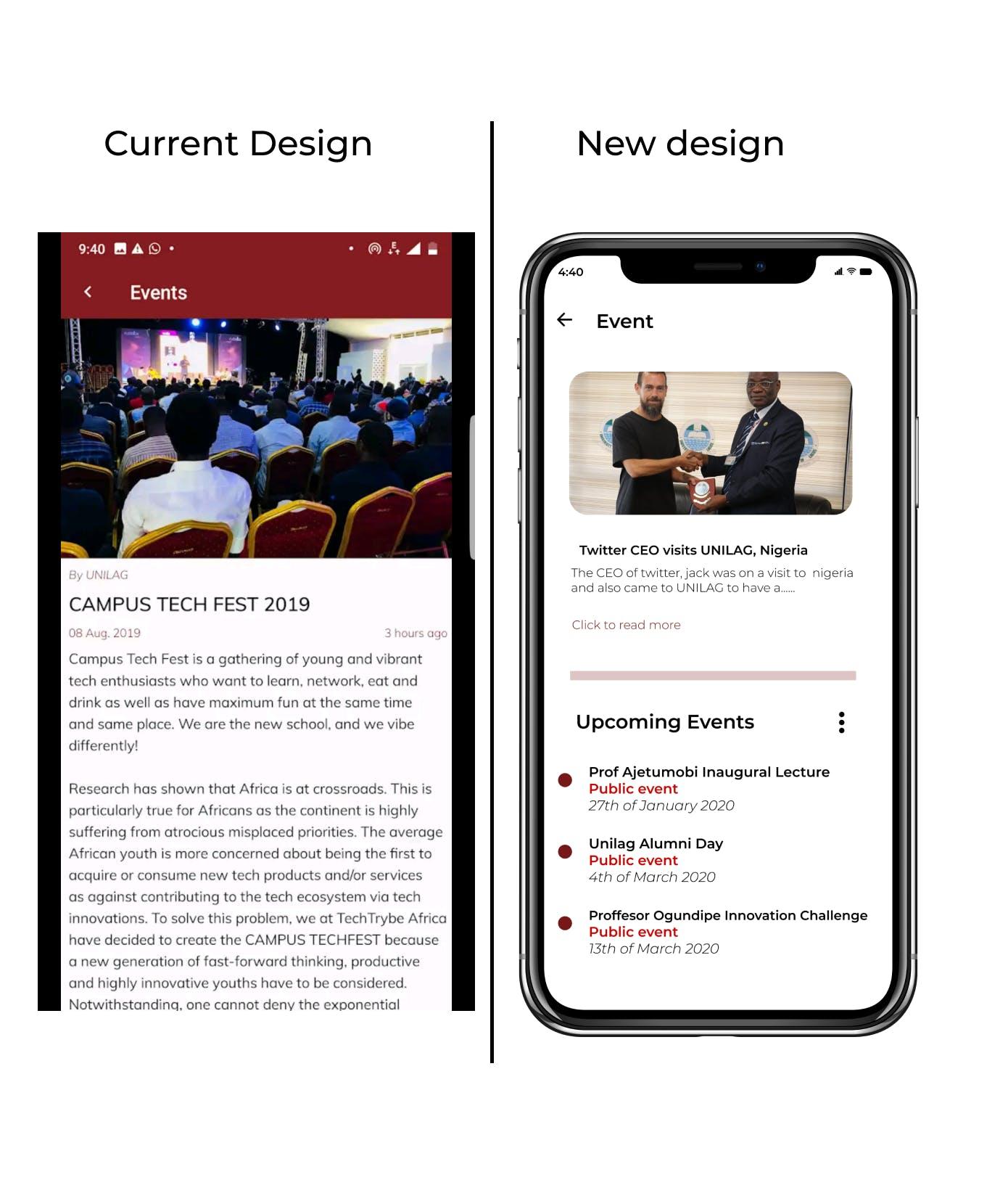 Present google play store app VS My new design