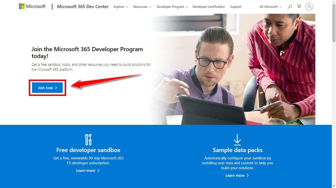 Join Microsoft 365 Developer Program
