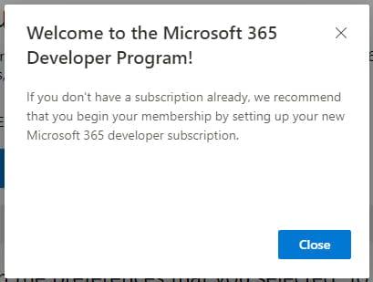 Tham gia Microsoft 365 Developer Program thành công