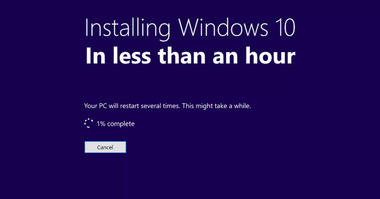 Installing Windows in less than an hour