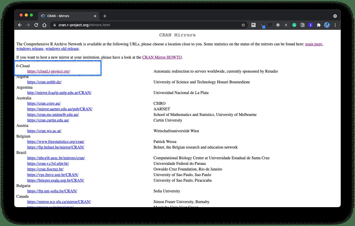 A screenshot of the CRAN mirrors page