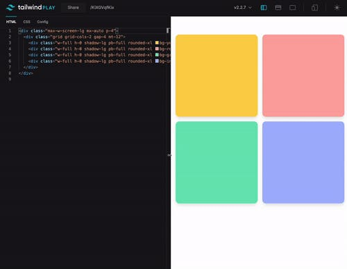 Tailwind CSS responsive square divs