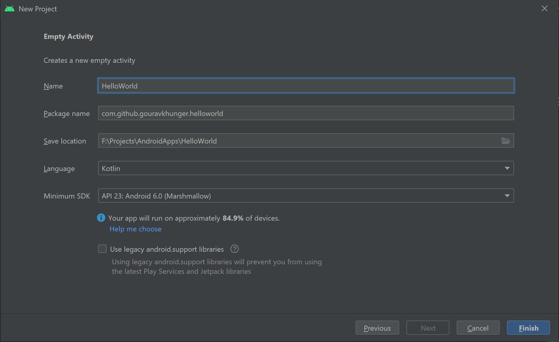 Give information to Android Studio about your app