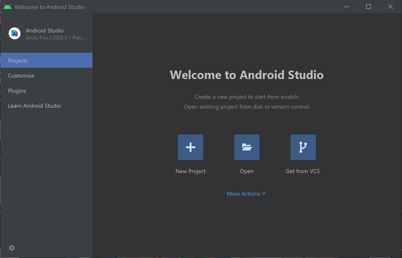 Welcome to Android Studio Screen