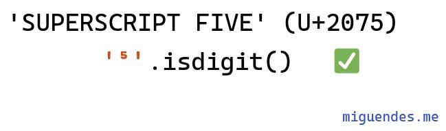 how python isdigit handling superscript characters
