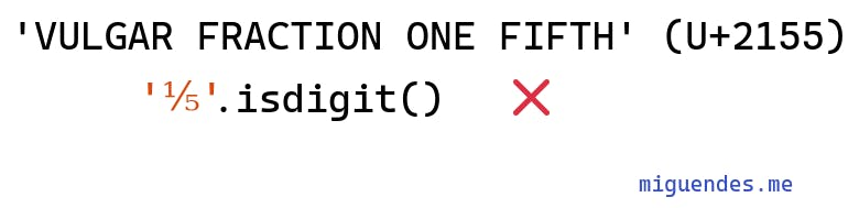 image showing how python isdigit work with fraction chars in unicode