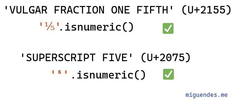 several examples of python's isnumeric method that returns true