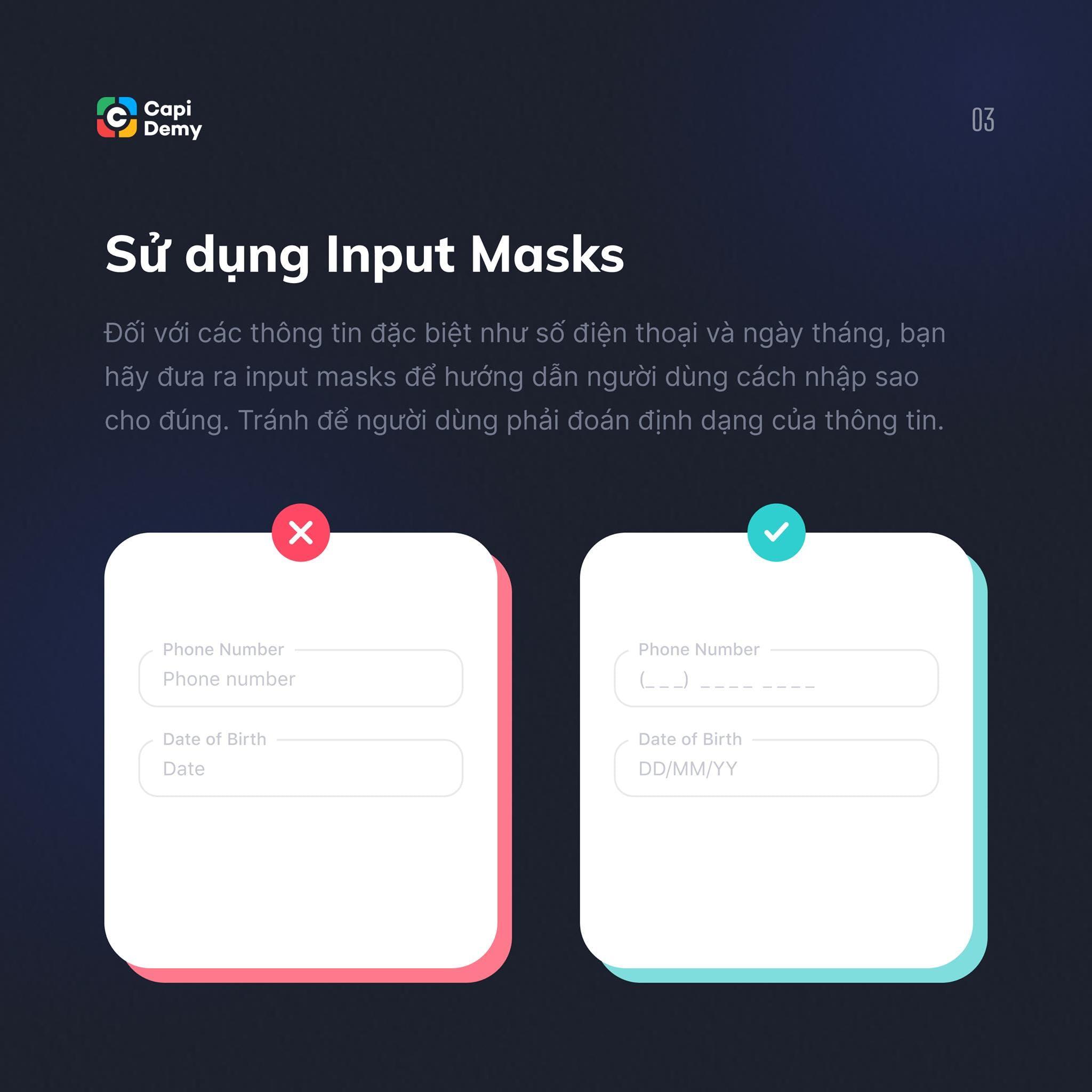 Sử dụng Input Masks