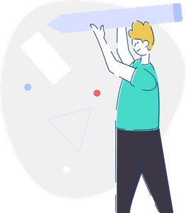 SVG Illustration showing a man with a pencil