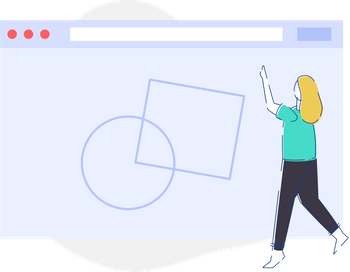 SVG Illustration showing a woman pointing at a webpage