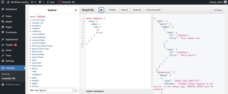 Query data WordPress GraphQL