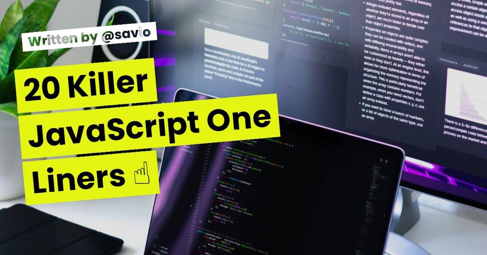 20 Killer JavaScript One Liners ☝️