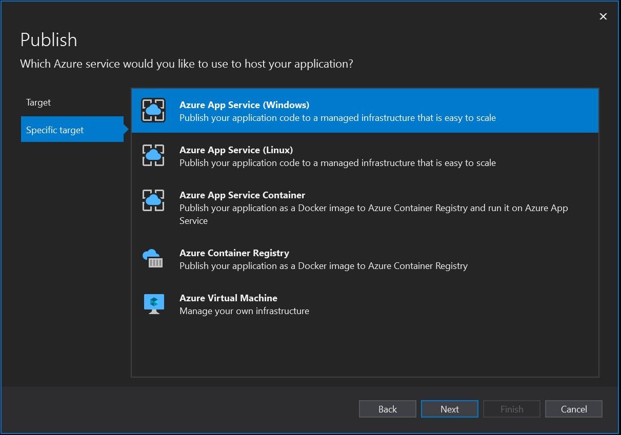 "Choose ""Azure App Service (Windows)"""