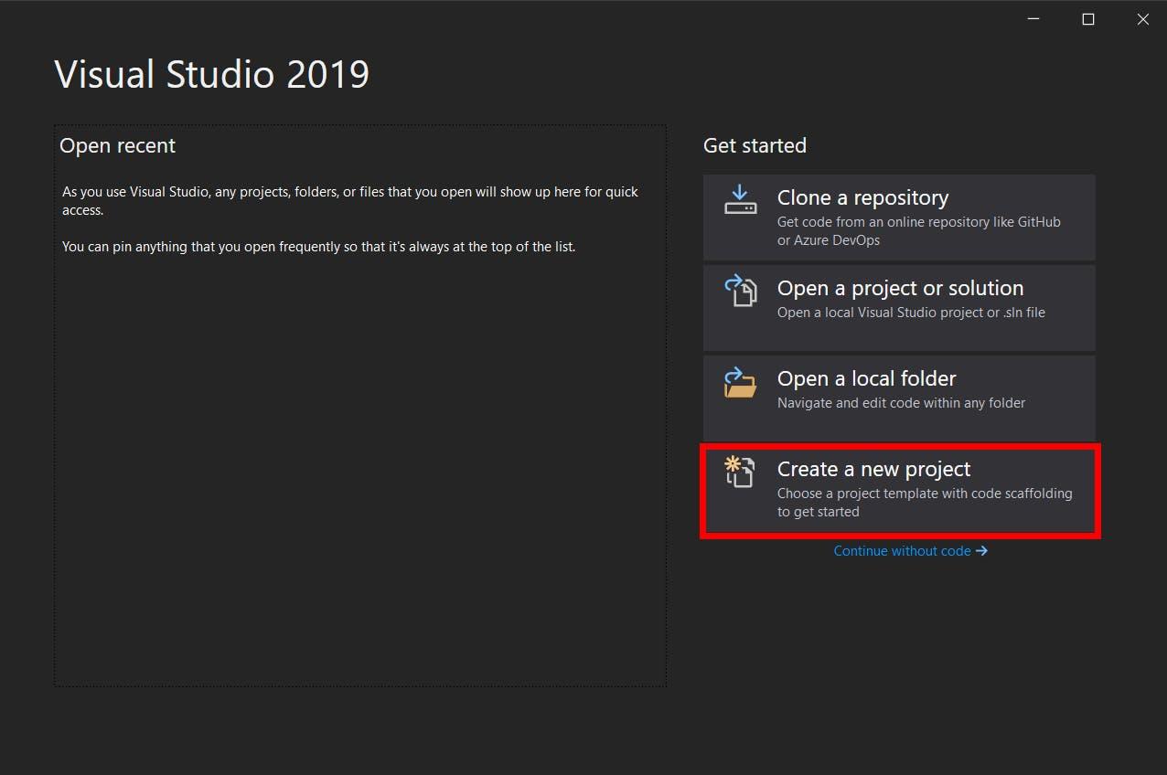 Visual Studio start image