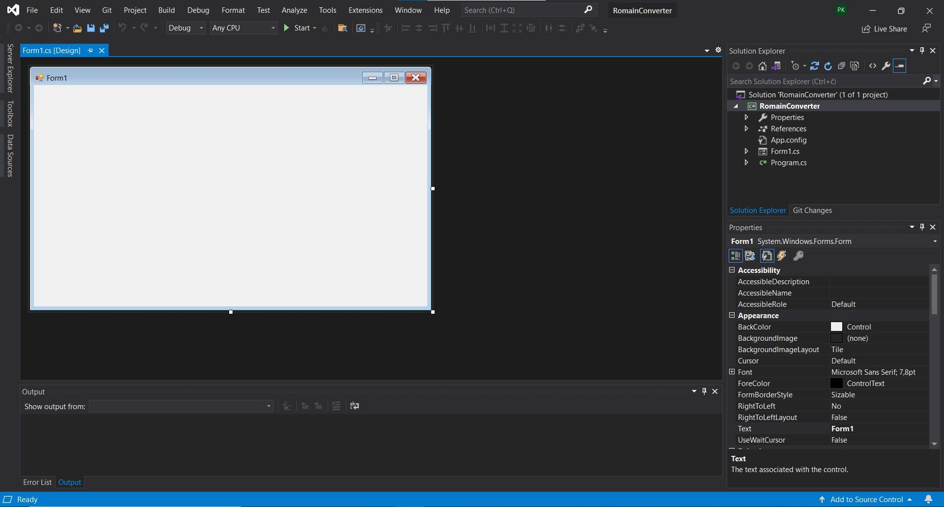 Main view of Visual Studio