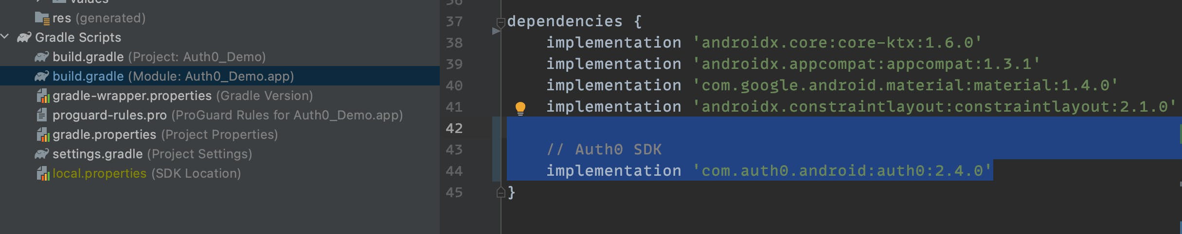 Adding auth0 sdk to android app