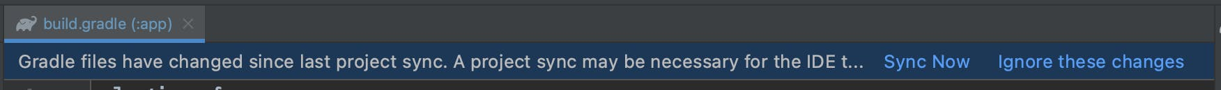 Android Studio Gradle sync notification