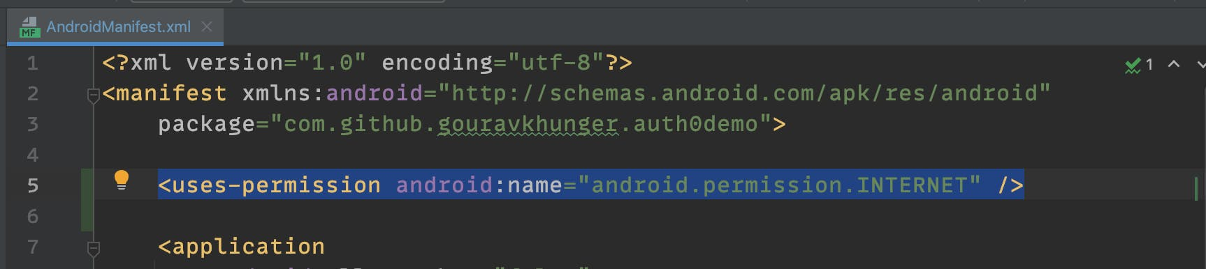 Adding internet permission in AndroidManifest.xml file