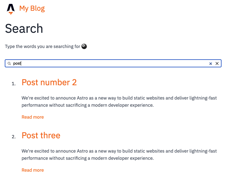 Typesense search running in Astro