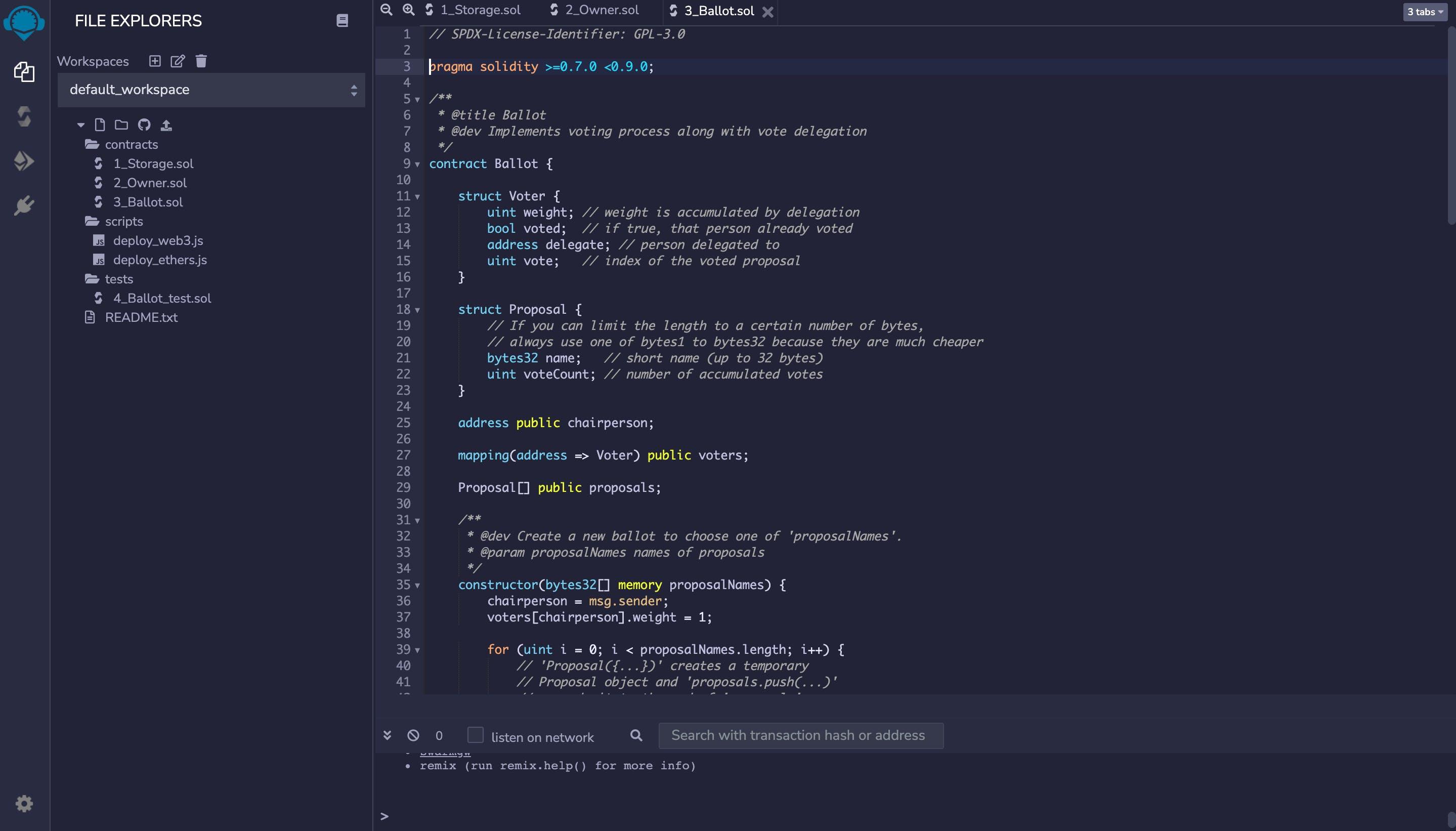 Remix online IDE