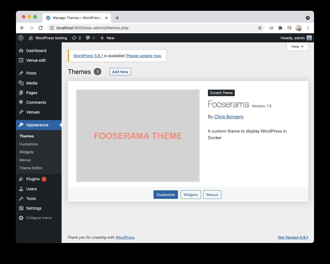 Custom WordPress theme loaded in Docker