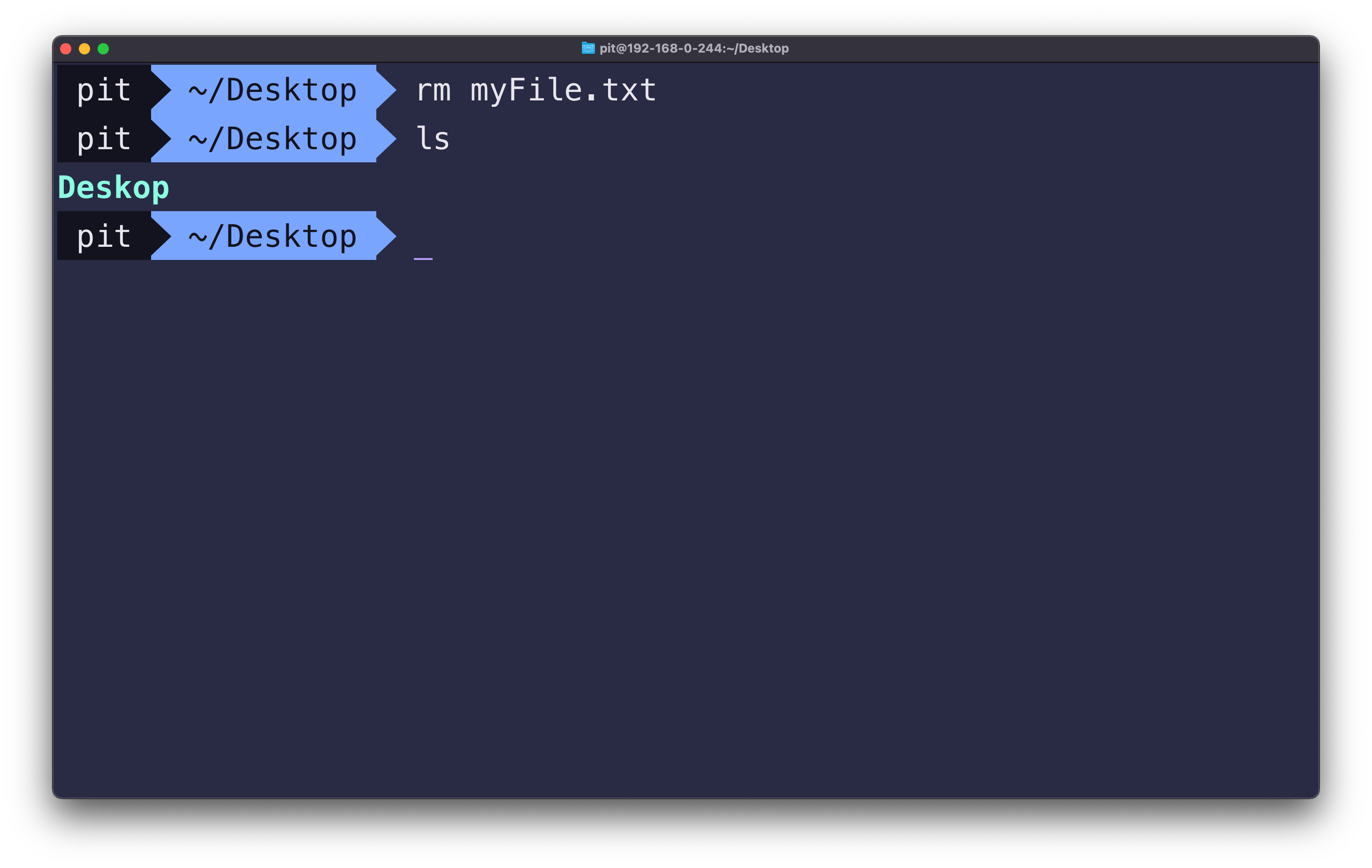 Screenshot illustrating the rm command on macOS terminal