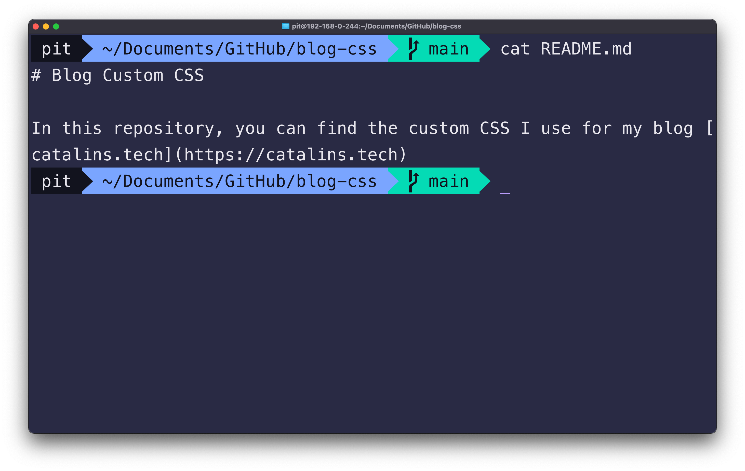 Screenshot illustrating the cat command on macOS terminal