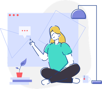 SVG Illustration showing a person and a web browser