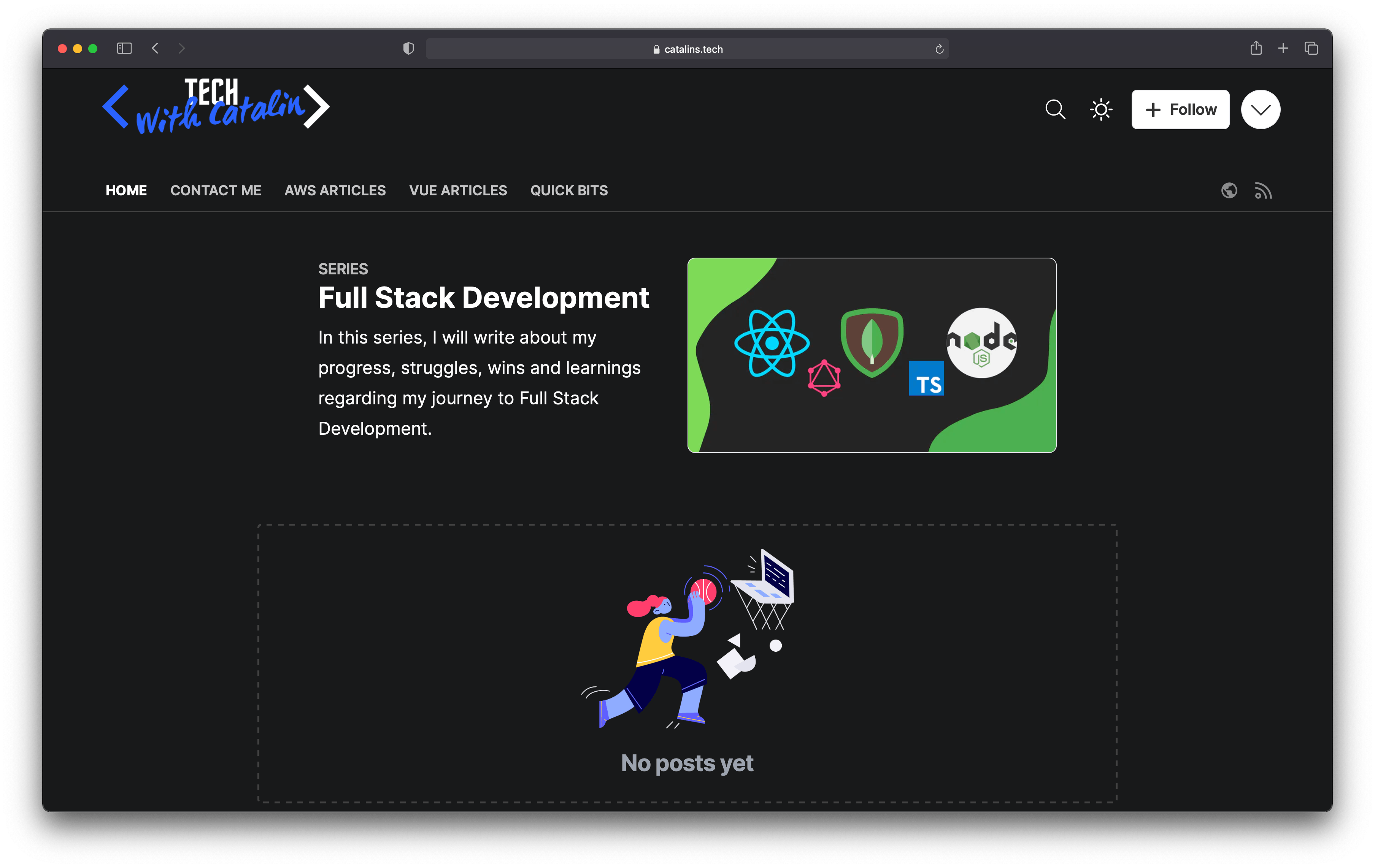 Screenshot of the Full Stack Journey Series page on catalins.tech