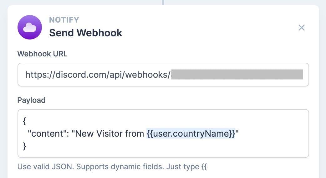 Splitbee 填入 Discord 的 Webhook