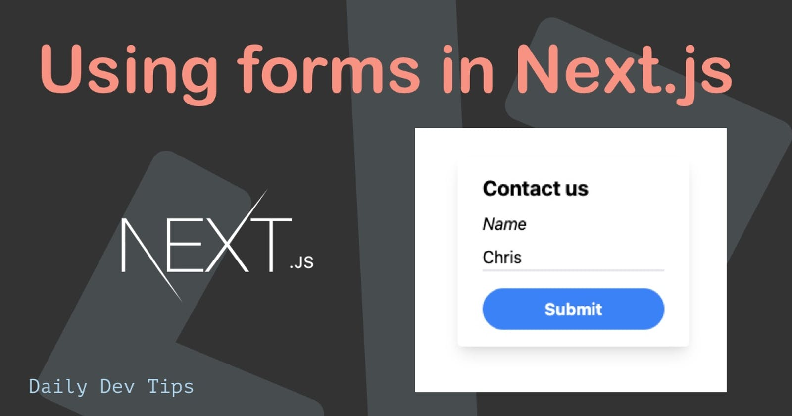 Using forms in Next.js
