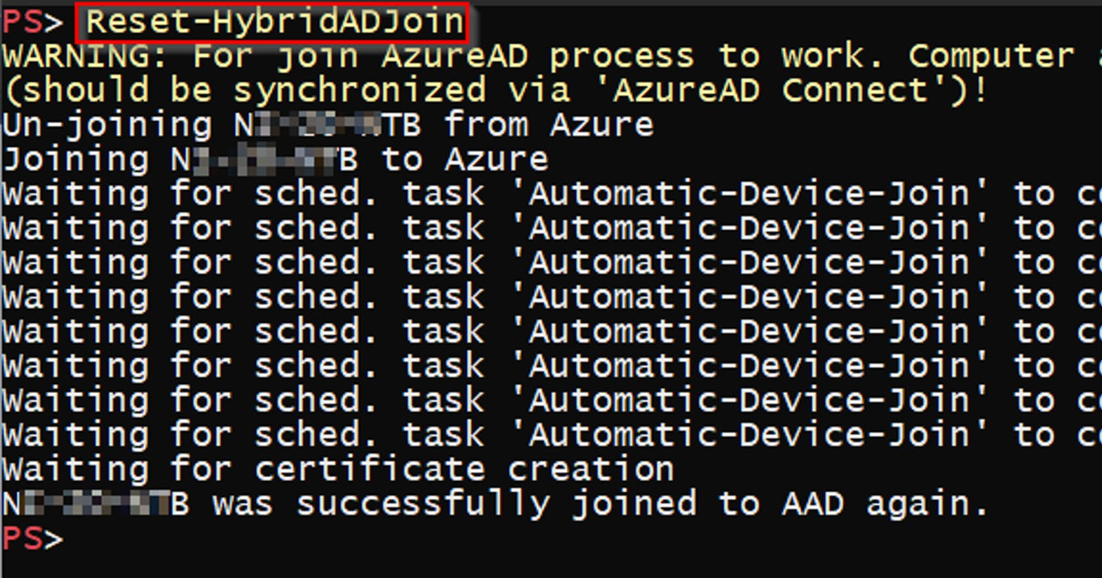 Fixing Hybrid Azure AD join on a device using PowerShell