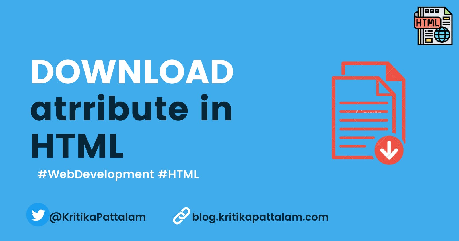 Create a DOWNLOAD link in a single line of HTML